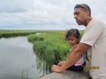 Son & granddaughter at marsh