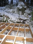 "My new deck structural components with 3"" of snow"