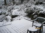 My deck on Sunday, with snow