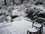 My deck on Sunday, with snow