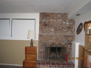 Basement fireplace wall