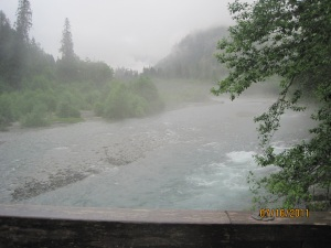 Baker River in the rain on hike out