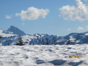 snow covered peaks from Excelsior Pass