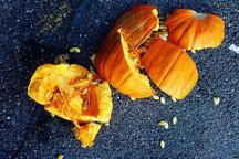 Roadkill pumpkin, smashed pumpkin